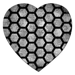 Hexagon2 Black Marble & Gray Metal 2 (r) Jigsaw Puzzle (heart) by trendistuff