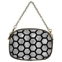 Hexagon2 Black Marble & Gray Metal 2 (r) Chain Purses (one Side)  by trendistuff