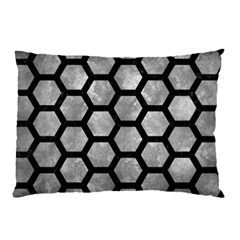 Hexagon2 Black Marble & Gray Metal 2 (r) Pillow Case by trendistuff