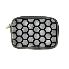 Hexagon2 Black Marble & Gray Metal 2 (r) Coin Purse by trendistuff