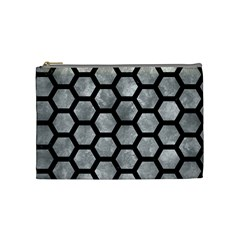 Hexagon2 Black Marble & Gray Metal 2 (r) Cosmetic Bag (medium)  by trendistuff