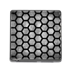 Hexagon2 Black Marble & Gray Metal 2 (r) Memory Card Reader (square) by trendistuff