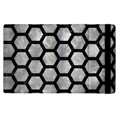 Hexagon2 Black Marble & Gray Metal 2 (r) Apple Ipad 3/4 Flip Case by trendistuff