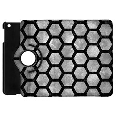 Hexagon2 Black Marble & Gray Metal 2 (r) Apple Ipad Mini Flip 360 Case by trendistuff