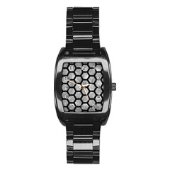 Hexagon2 Black Marble & Gray Metal 2 (r) Stainless Steel Barrel Watch by trendistuff
