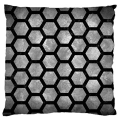 Hexagon2 Black Marble & Gray Metal 2 (r) Large Flano Cushion Case (two Sides) by trendistuff
