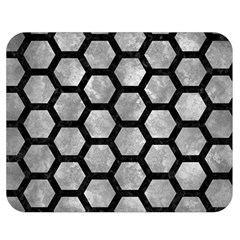 Hexagon2 Black Marble & Gray Metal 2 (r) Double Sided Flano Blanket (medium)  by trendistuff