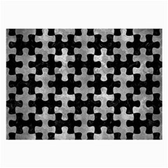 Puzzle1 Black Marble & Gray Metal 2 Large Glasses Cloth (2 Side) by trendistuff