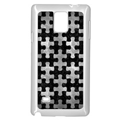 Puzzle1 Black Marble & Gray Metal 2 Samsung Galaxy Note 4 Case (white) by trendistuff
