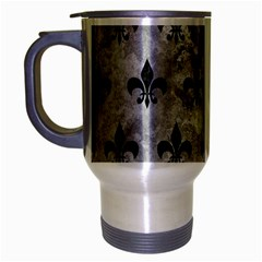 Royal1 Black Marble & Gray Metal 2 Travel Mug (silver Gray) by trendistuff