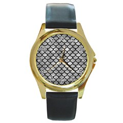 Scales1 Black Marble & Gray Metal 2 (r) Round Gold Metal Watch by trendistuff