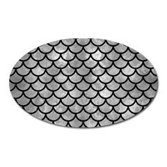 Scales1 Black Marble & Gray Metal 2 (r) Oval Magnet by trendistuff