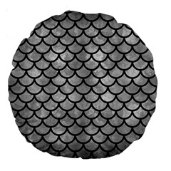 Scales1 Black Marble & Gray Metal 2 (r) Large 18  Premium Round Cushions by trendistuff