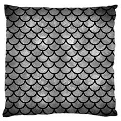 Scales1 Black Marble & Gray Metal 2 (r) Large Flano Cushion Case (one Side) by trendistuff