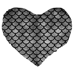 Scales1 Black Marble & Gray Metal 2 (r) Large 19  Premium Flano Heart Shape Cushions by trendistuff