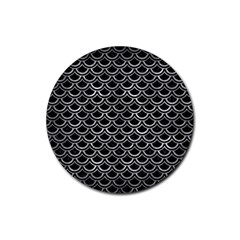 Scales2 Black Marble & Gray Metal 2 Rubber Coaster (round)  by trendistuff