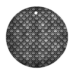 Scales2 Black Marble & Gray Metal 2 (r) Ornament (round) by trendistuff