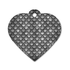 Scales2 Black Marble & Gray Metal 2 (r) Dog Tag Heart (one Side) by trendistuff