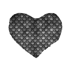 Scales2 Black Marble & Gray Metal 2 (r) Standard 16  Premium Flano Heart Shape Cushions by trendistuff