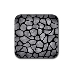 Skin1 Black Marble & Gray Metal 2 Rubber Square Coaster (4 Pack)