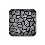 SKIN1 BLACK MARBLE & GRAY METAL 2 Rubber Square Coaster (4 pack)  Front