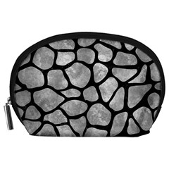 Skin1 Black Marble & Gray Metal 2 Accessory Pouches (large)  by trendistuff