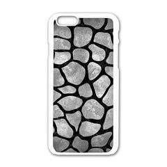 Skin1 Black Marble & Gray Metal 2 Apple Iphone 6/6s White Enamel Case by trendistuff