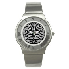 Skin2 Black Marble & Gray Metal 2 (r) Stainless Steel Watch by trendistuff
