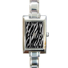 Skin3 Black Marble & Gray Metal 2 Rectangle Italian Charm Watch by trendistuff