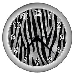 Skin4 Black Marble & Gray Metal 2 Wall Clocks (silver)  by trendistuff