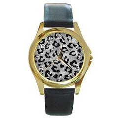 Skin5 Black Marble & Gray Metal 2 Round Gold Metal Watch by trendistuff