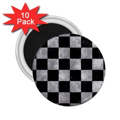 Square1 Black Marble & Gray Metal 2 2 25  Magnets (10 Pack)  by trendistuff