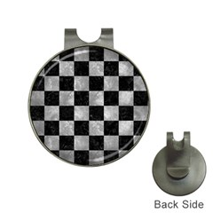 Square1 Black Marble & Gray Metal 2 Hat Clips With Golf Markers by trendistuff