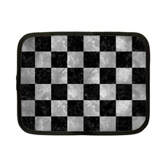 Square1 Black Marble & Gray Metal 2 Netbook Case (small)  by trendistuff