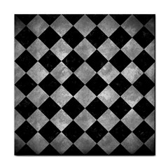 Square2 Black Marble & Gray Metal 2 Tile Coasters by trendistuff