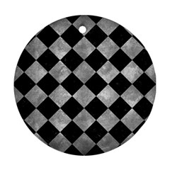 Square2 Black Marble & Gray Metal 2 Ornament (round) by trendistuff