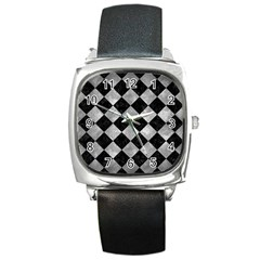 Square2 Black Marble & Gray Metal 2 Square Metal Watch by trendistuff