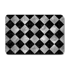 Square2 Black Marble & Gray Metal 2 Small Doormat  by trendistuff