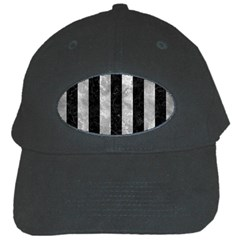 Stripes1 Black Marble & Gray Metal 2 Black Cap by trendistuff