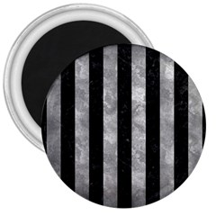 Stripes1 Black Marble & Gray Metal 2 3  Magnets by trendistuff