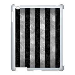 Stripes1 Black Marble & Gray Metal 2 Apple Ipad 3/4 Case (white) by trendistuff