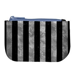 Stripes1 Black Marble & Gray Metal 2 Large Coin Purse by trendistuff