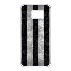 Stripes1 Black Marble & Gray Metal 2 Samsung Galaxy S7 Edge White Seamless Case by trendistuff