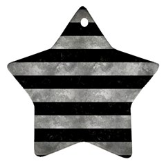Stripes2 Black Marble & Gray Metal 2 Ornament (star)
