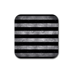 Stripes2 Black Marble & Gray Metal 2 Rubber Coaster (square)  by trendistuff