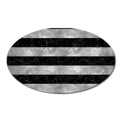 Stripes2 Black Marble & Gray Metal 2 Oval Magnet by trendistuff