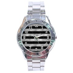Stripes2 Black Marble & Gray Metal 2 Stainless Steel Analogue Watch by trendistuff