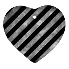 Stripes3 Black Marble & Gray Metal 2 Ornament (heart) by trendistuff