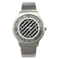 Stripes3 Black Marble & Gray Metal 2 Stainless Steel Watch by trendistuff