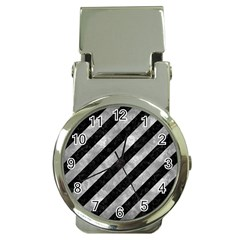 Stripes3 Black Marble & Gray Metal 2 Money Clip Watches by trendistuff